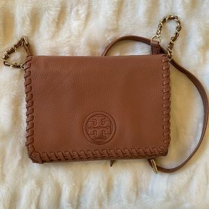Tory Burch Rose Cross Body Purse with Gold Chain
